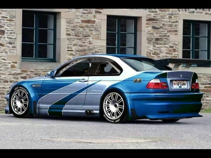 Bmw E46 M3 Blue With Rear Wing And Side Exhaust Bmw Horse Power