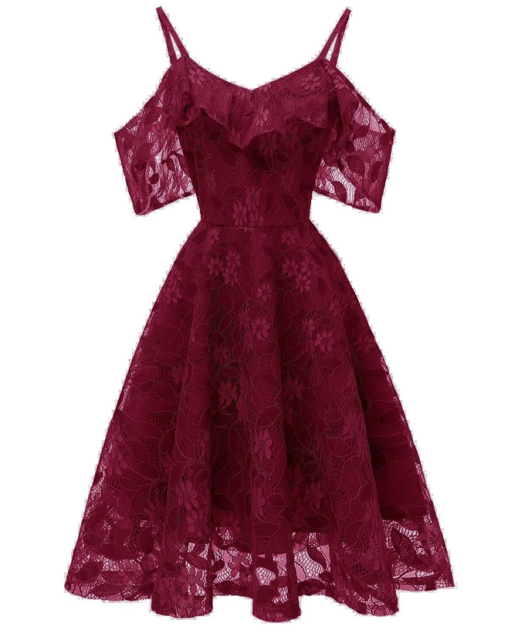 1950s Lace Cold Shoulder Ruffle Dress A Line Prom Dresses Dresses Evening Dresses [ 1250 x 1000 Pixel ]