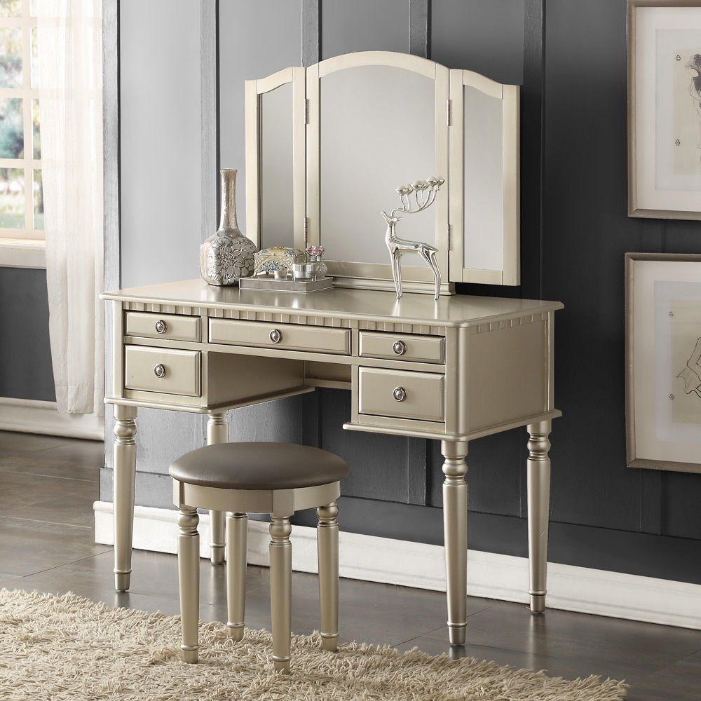 Perfectchoice tri folding mirror vanity set makeup table dresser w
