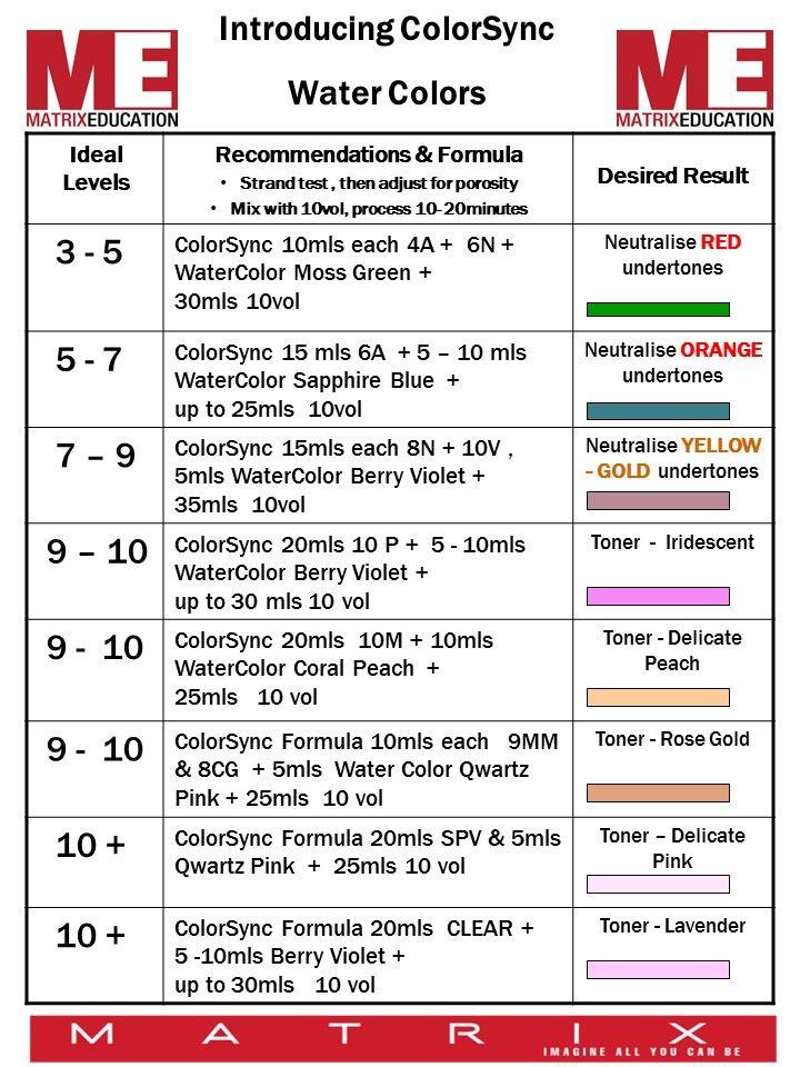 Matrix Water Color Toner Formulas Hair N Beauty In 2018