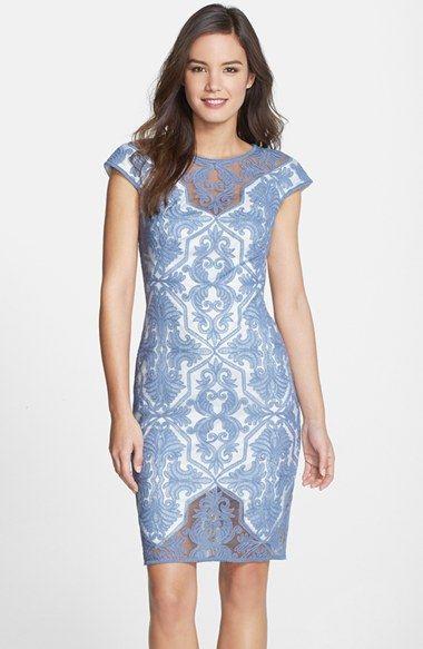 Free Shipping And Returns On Tadashi Shoji Embroidered Geo Sheath Dress At Nordstrom