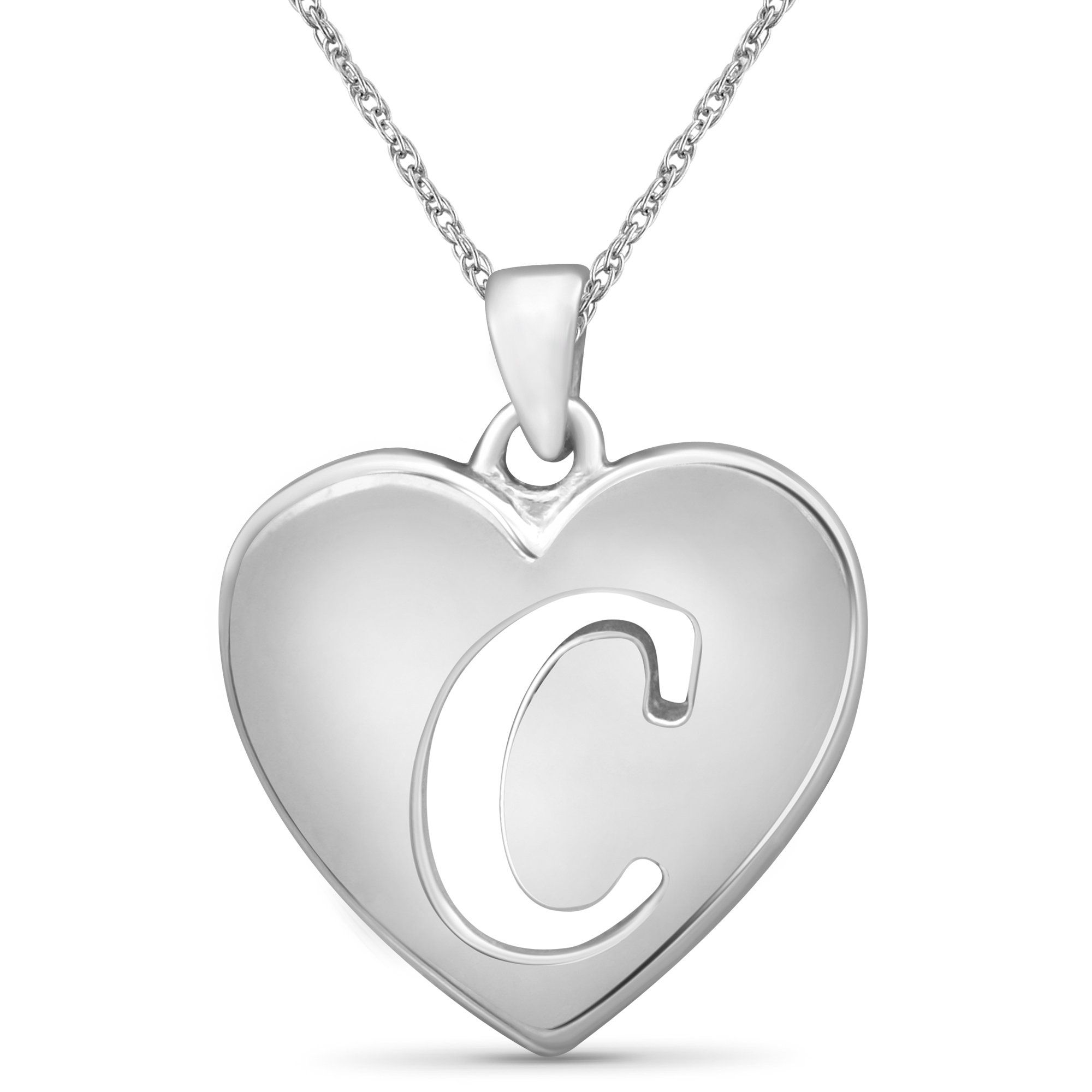 Initial Letter Pendant for Women | Customizable Sterling Silver A to Z AlphabetMonogram Necklaces for Girls | Cursive Script Capital Letters | Personalized Jewelry Gift for Her – C