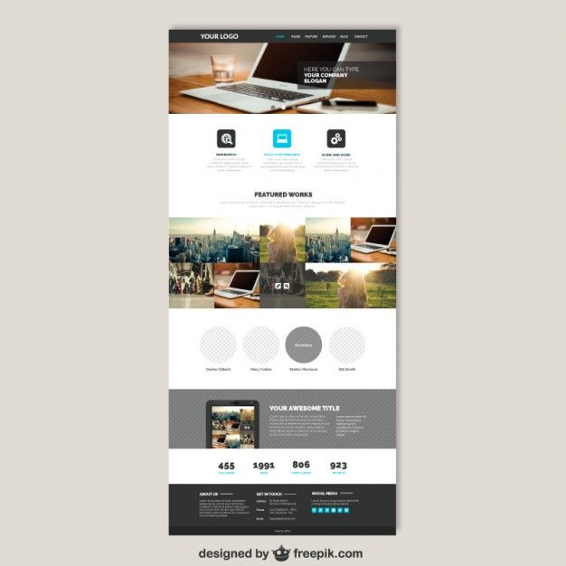 Plantilla web de negocios Vector Gratis | Social & web | Pinterest ...