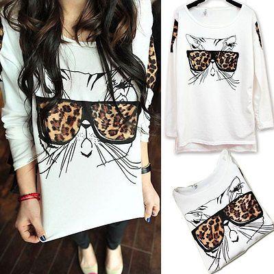 New Fashion Girl Women Casual Cat Leopard White Long Sleeve T-Shirt Blouse Top