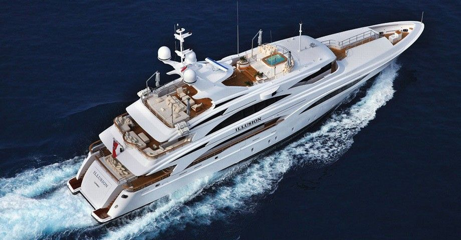 The superb 46m Illusion - This beautiful motor yacht accommodates up to 10 guests in 3 double and 2 twin cabins