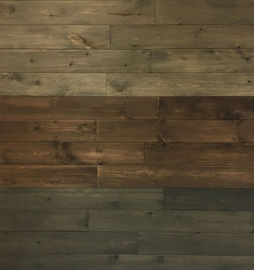 Tobacco Stained Vertical Plank Walls: STAIN COLORS: (top To Bottom) SANDSTONE, TOBACCO, AND WOOD