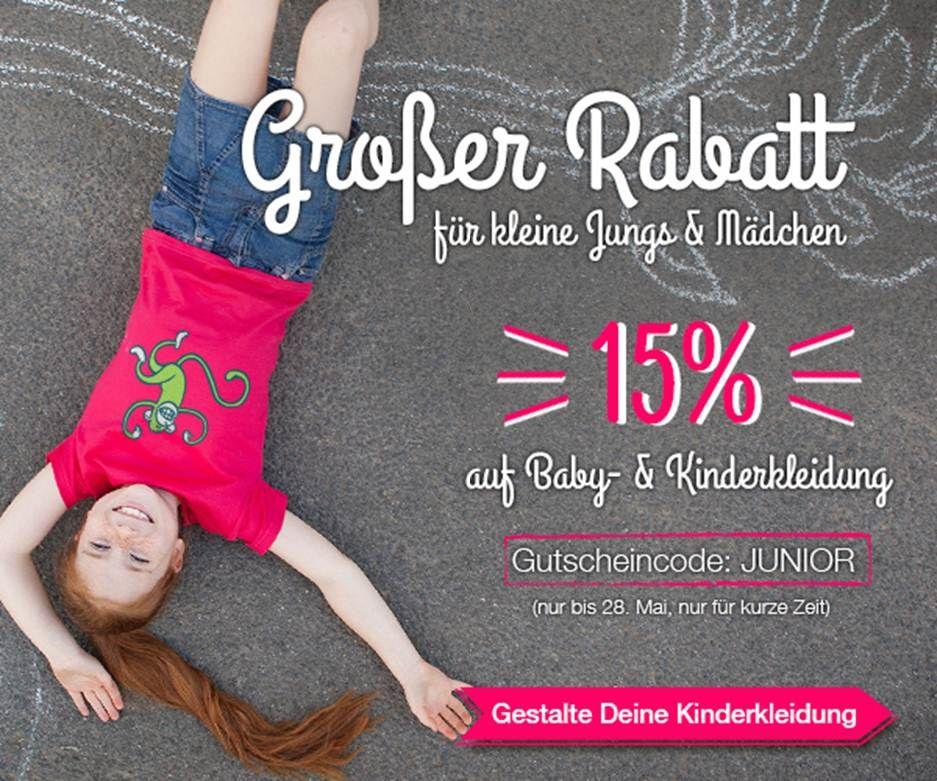 Wir spendieren Dir 15% Rabatt auf Baby- und Kinderkleidung mit dem Gutscheincode JUNIOR und genügend Spieltrieb, um Dich in unserem T-Shirt Designer auszutoben. Aktion gilt ab jetzt bis zum 28.05. !!! Also zuschlagen! http://www.t-shirt-mit-druck.de/kinder-kleidung-selbst-gestalten.htm