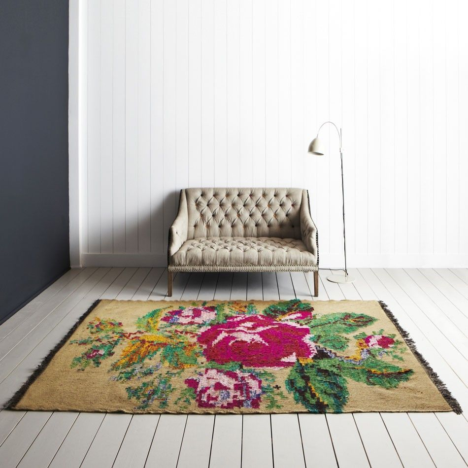 Graham And Green Emperor Rug: Rose On Cream Rug, From Graham And Green (550 Pounds