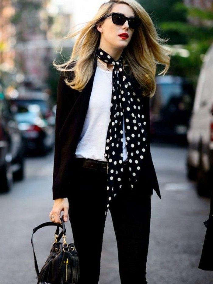 067f2bb4beb0 pantalon noir femme avec blouse blanche femme, écharpe femme à points blancs
