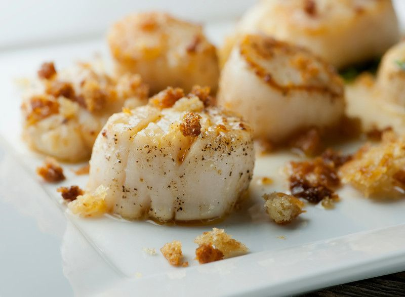 Brown Butter Scallops with Crispy Breadcrumbs - Makes 2 Servings/Can be increased as needed  From Framed Cooks