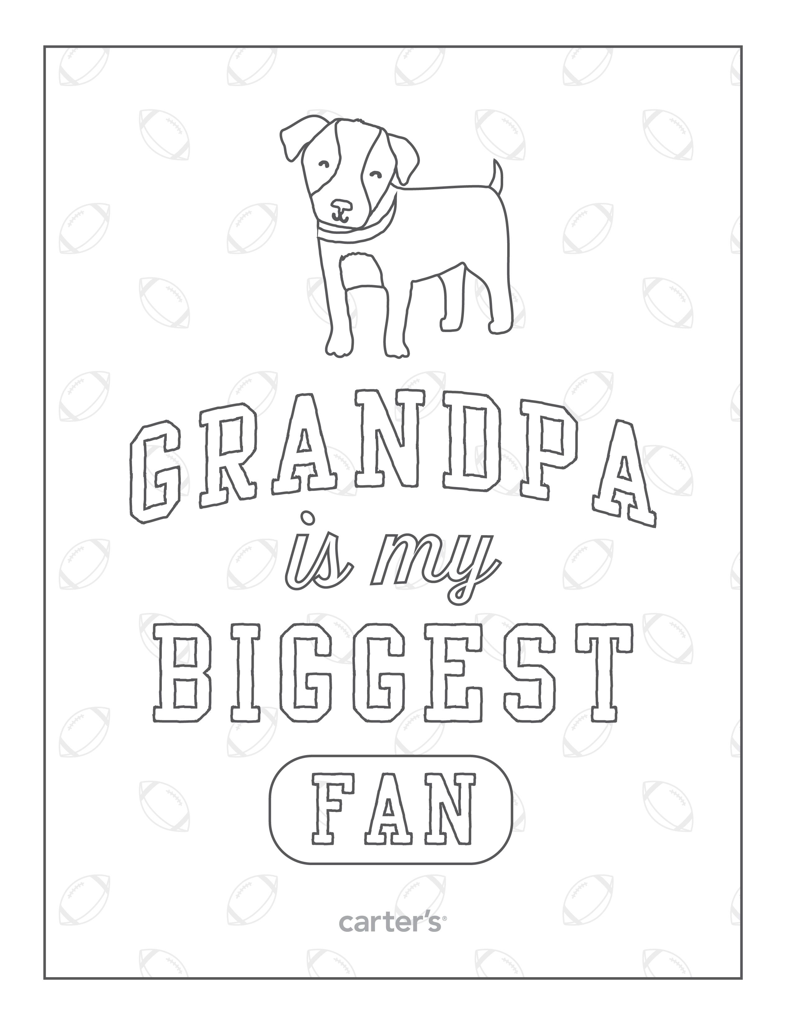 Grandpa is my biggest fan. Download free Grandparent\'s Day coloring ...