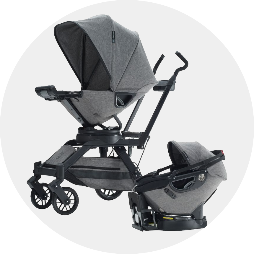 Infant car seat included for a complete, frombirth system