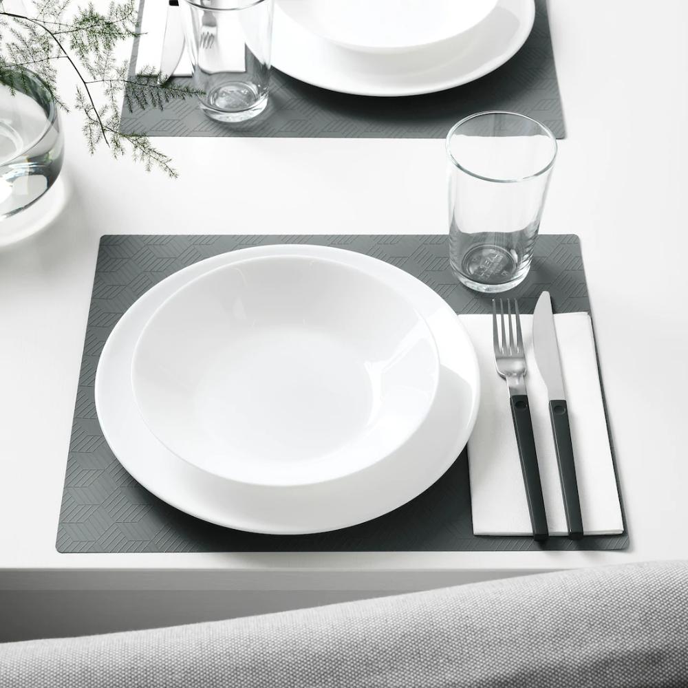 Slira Daekkeserviet Gra Ikea Placemats Ikea Table Settings Everyday