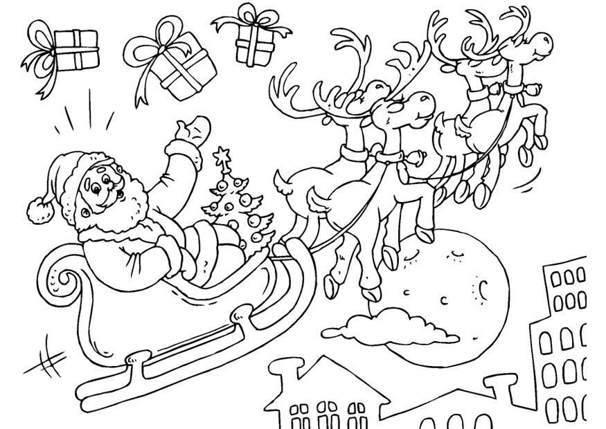 Ausmalbild Weihnachtsmann Schlitten   Minták