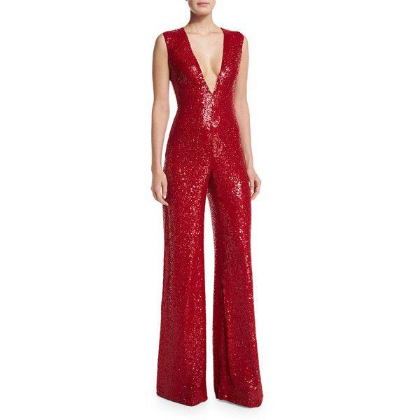 Naeem Khan Sleeveless V-Neck Sequin Jumpsuit, Red - Naeem Khan Sleeveless V-Neck Sequin Jumpsuit ($9,990) ❤ Liked On