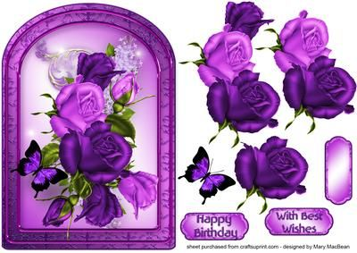 Purple Roses Arched Card