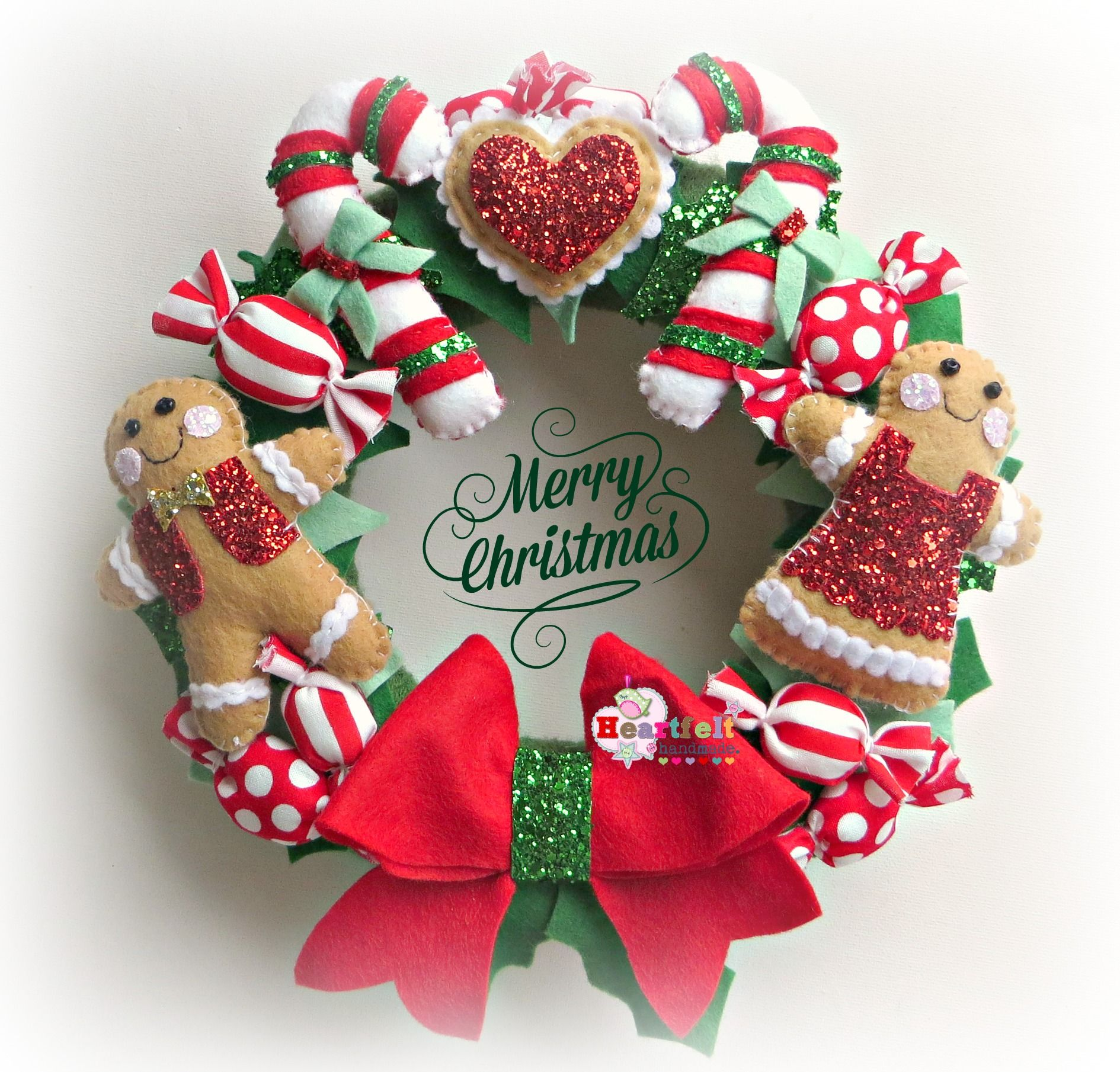 Christmas felt gingerbread wreath #candycanes #handmade ...