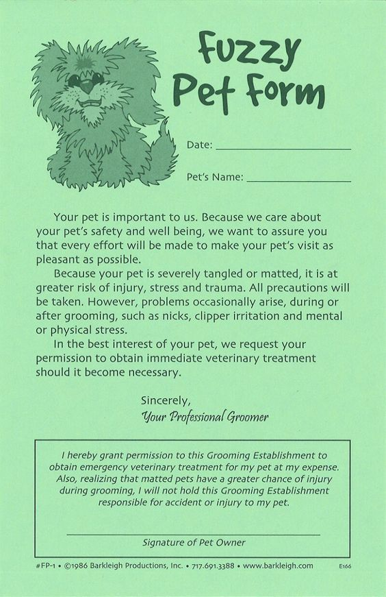 Fuzzy Pet Release Forms Dog grooming Pinterest Dog - release forms