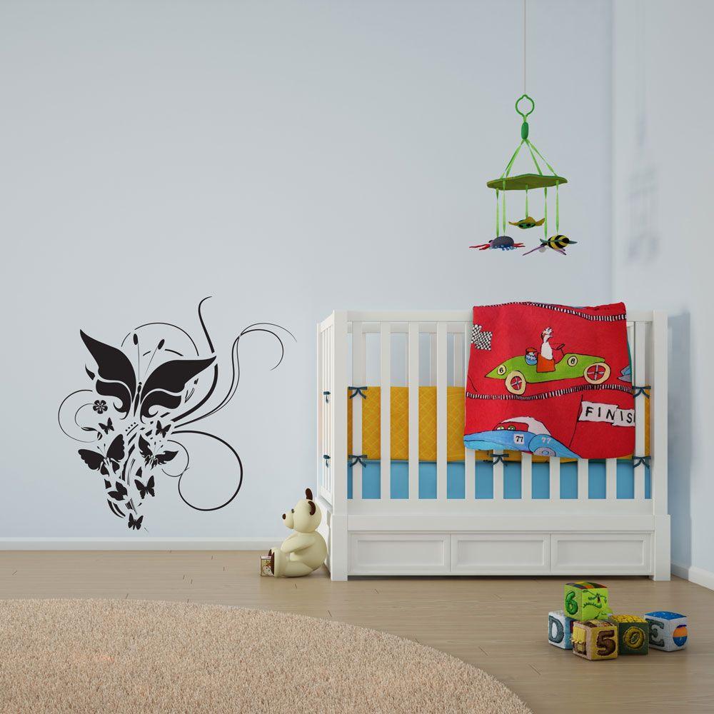 Butterflies and Flowers Vinyl Wall Art Decal #design #interiordesign #home #decals #stickers #vinyl #DIY #wallart #wallstickers #wallart #butterflies #floral #summer #nurserydecor #kids