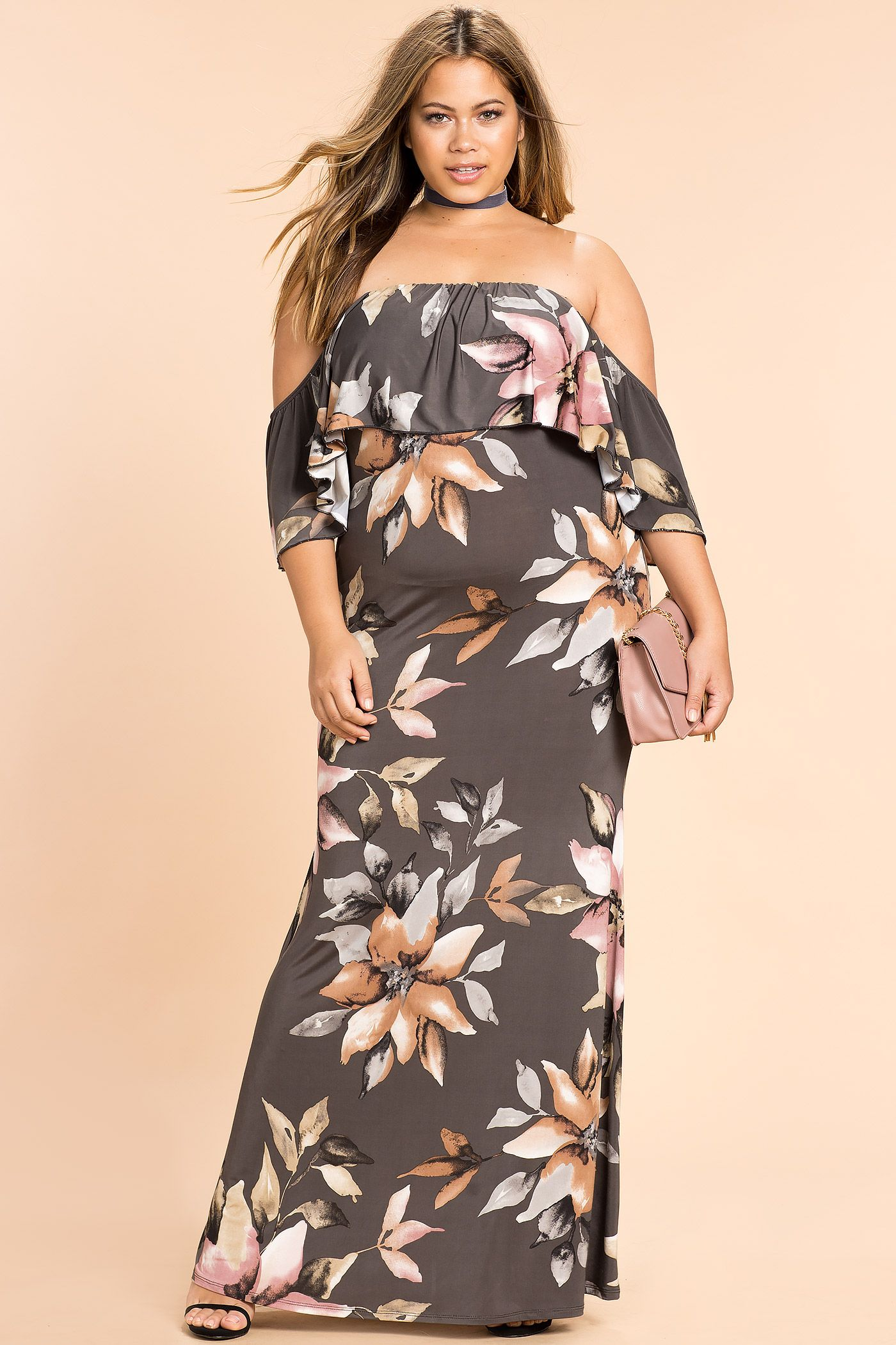 ad178a6eae08 Women's Plus Size Maxi Dresses | Floral Evening Off Shoulder Maxi Dress | A 'GACI