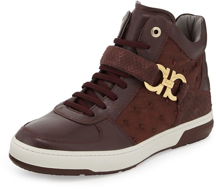 c5ad8f23204fc  1,950, Burgundy Suede High Top Sneakers  Salvatore Ferragamo Nayon Exotic  High Top Sneaker. Sold by Neiman Marcus.