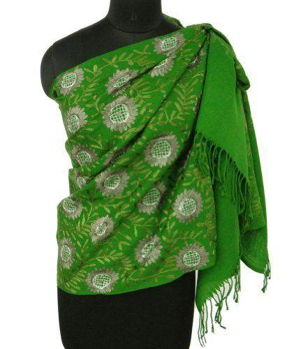 Ibaexports 100 Pure Wool Shawl Kashmir Chain Stitch