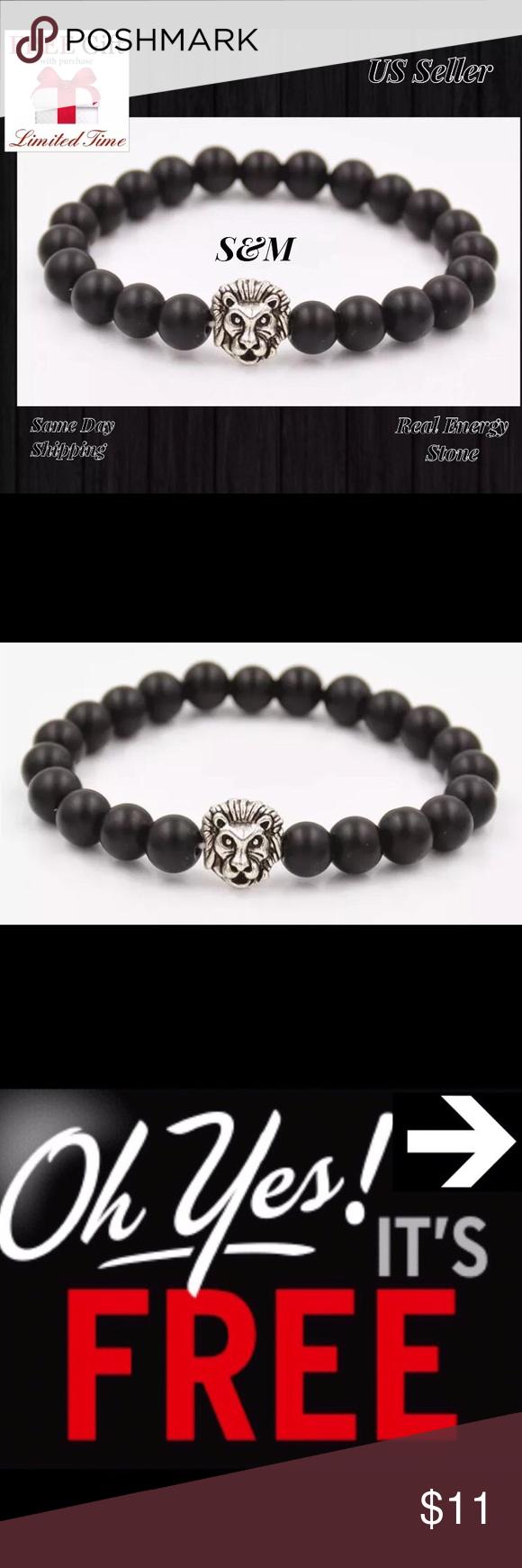Energy stone lion bead men women bracelet black