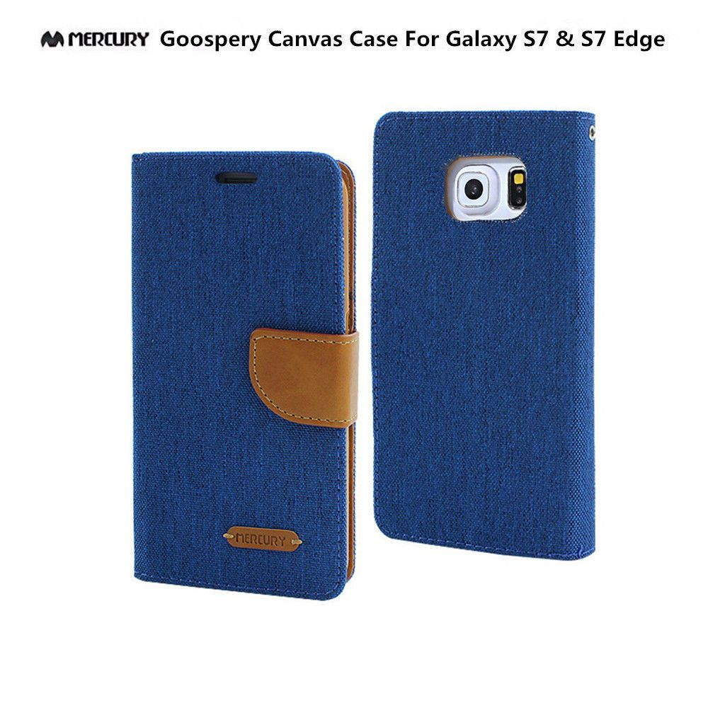 Galaxy S7 Edge Genuine Mercury Goospery Blue Canvas Flip Case Samsung S6 Diary Navy Wallet Cover