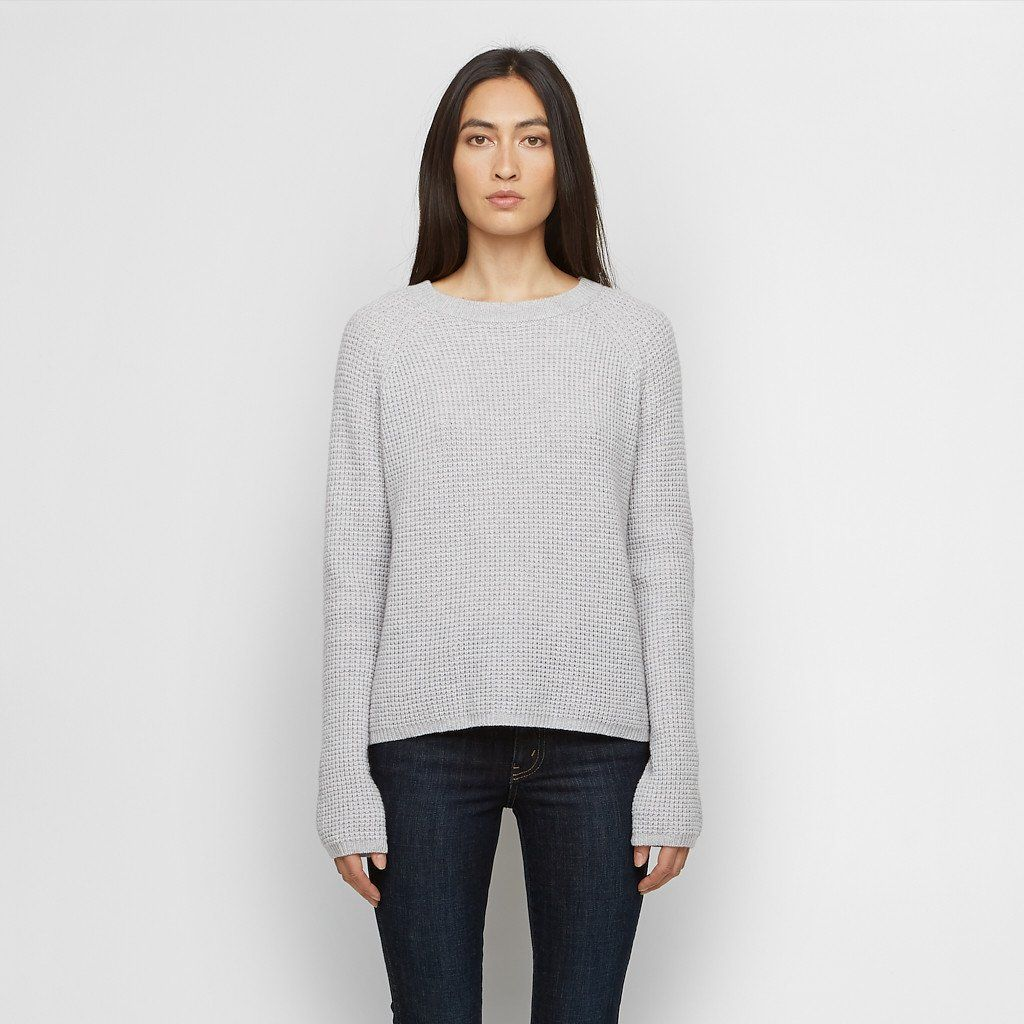 Cashmere Thermal Fisherman Sweater - Light Grey | Cashmere ...