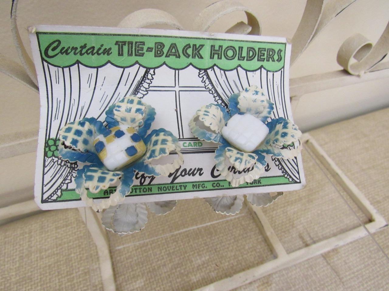 4 Vtg 1950s BLUE & CREAM Floral Curtain Tie Back Holders Enameled ...
