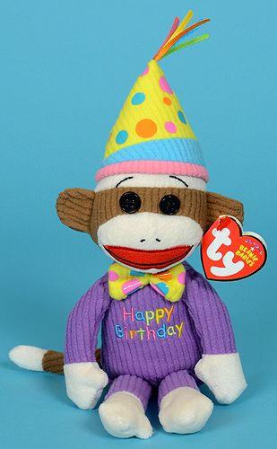 Happy Birthday Sock Monkey - Ty Beanie Babies  c0d67c70740