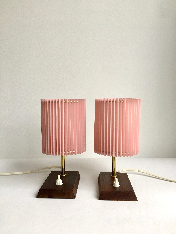 Mid Century Lampen Messing 50ziger Lampe Nachttischlampen Plissee