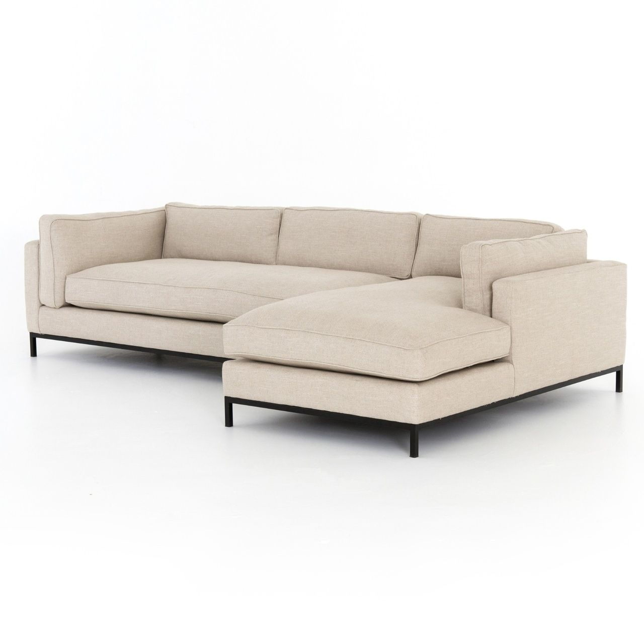 Grammercy Modern Sand Fabric 2 Piece Sectional Sofa Sectional