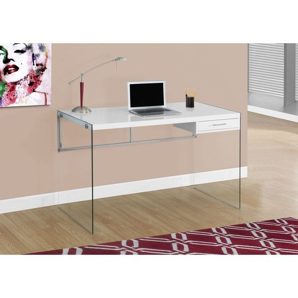 48-inch Glossy White Computer Desk With Tempered Glass Home