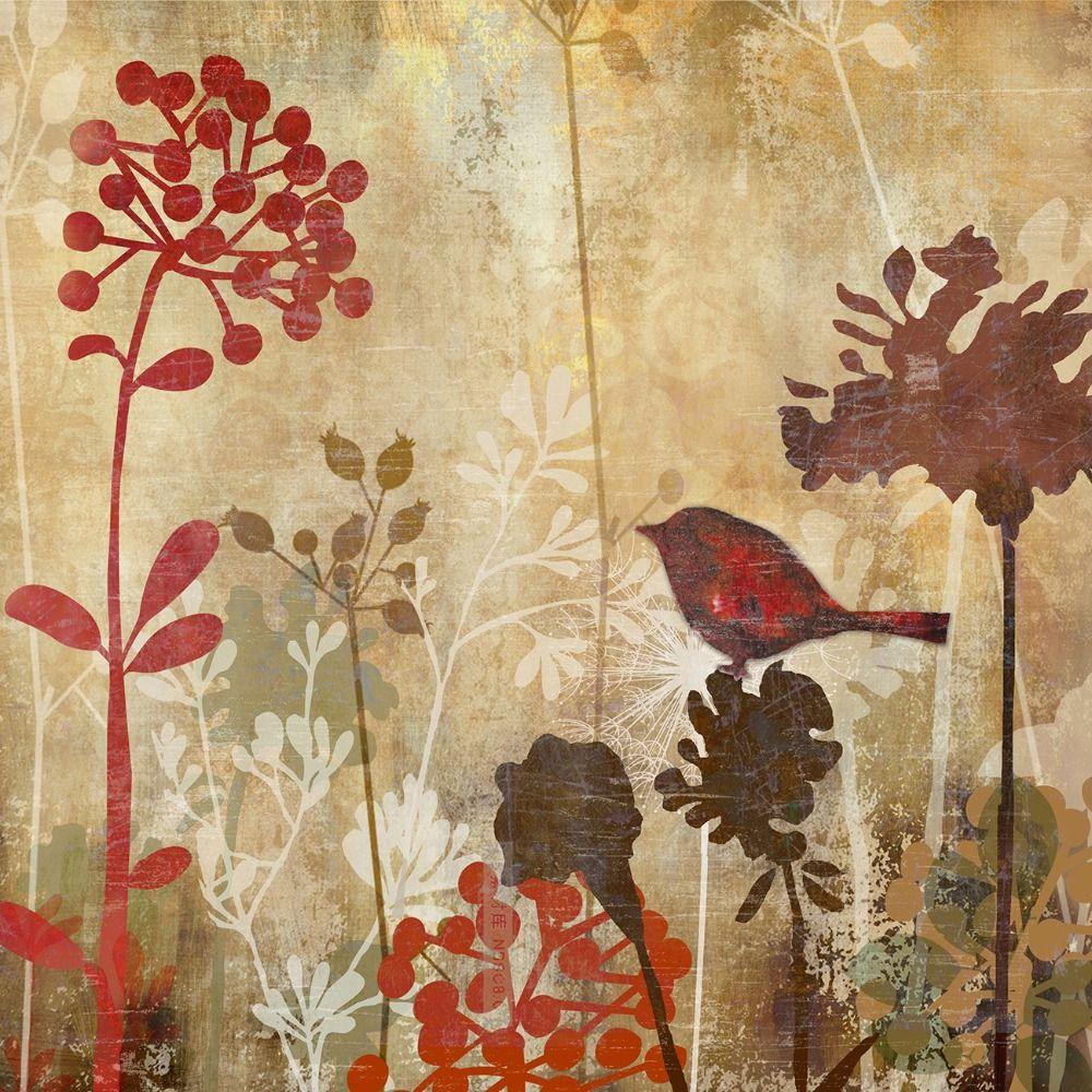 Modern floral canvas art dandelion silhouette digital inkjet bird ...