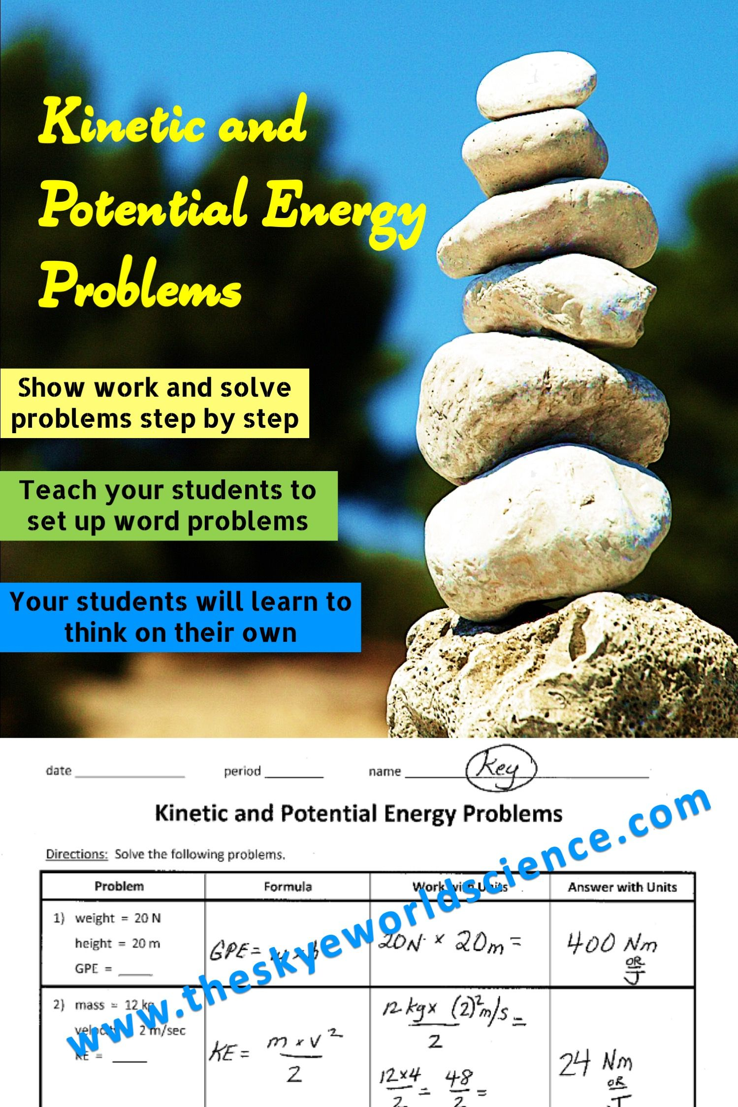 Kinetic and Potential Energy Problems - Step by Step Worksheet ...