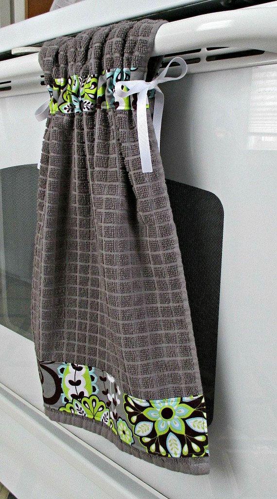 gray kitchen towels designer online tie top cotton towel by allwrappedupandmore