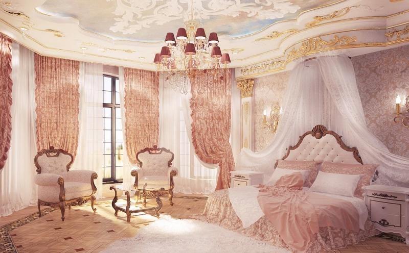 chambre style baroque, décor rose pastel et fauteuils en tissu blanc