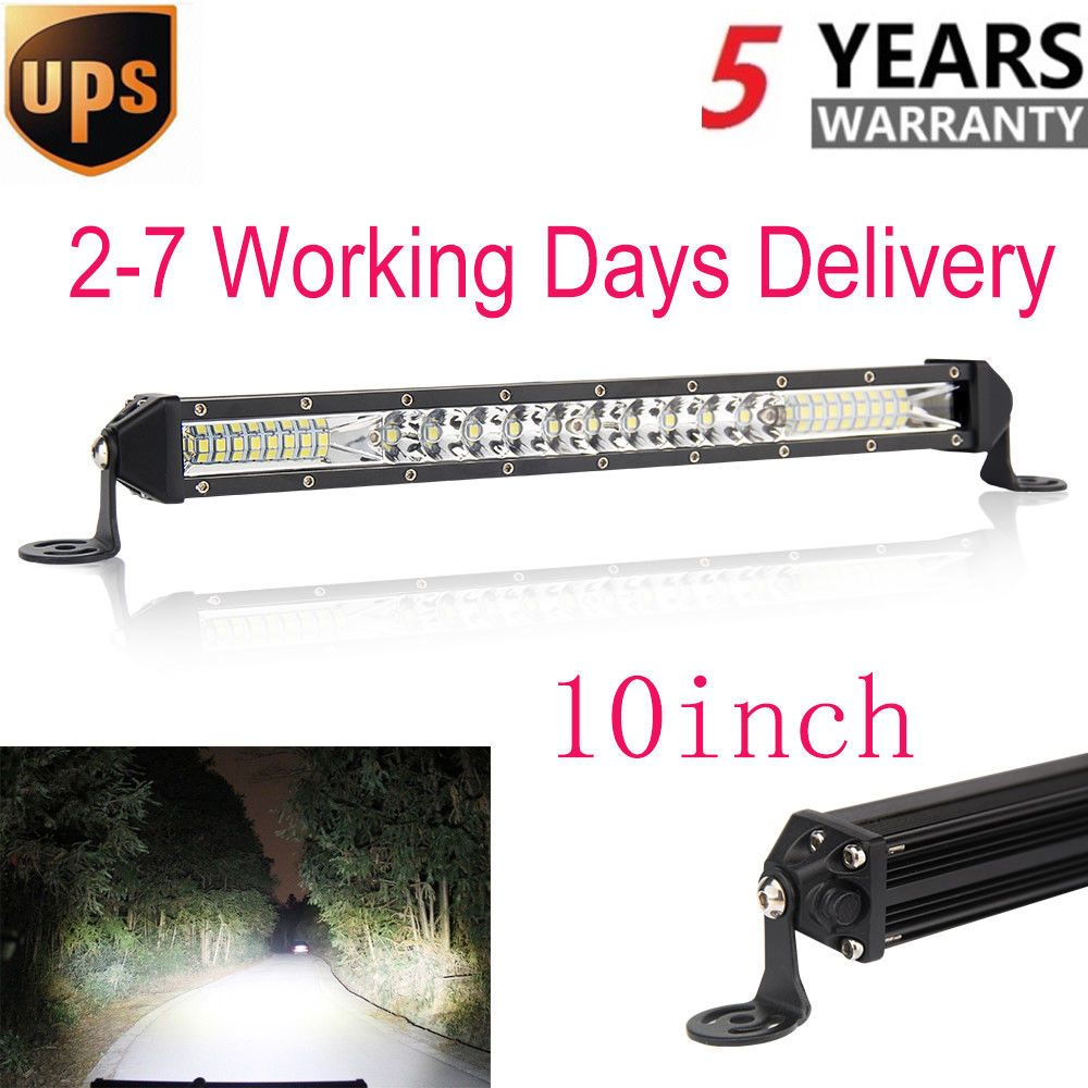 10inch Led Light Bar Spot Flood Light Work Offroad Suv 4wd Driving Fog Lamp 12 Led Light Bars Bar Lighting Led Work Light