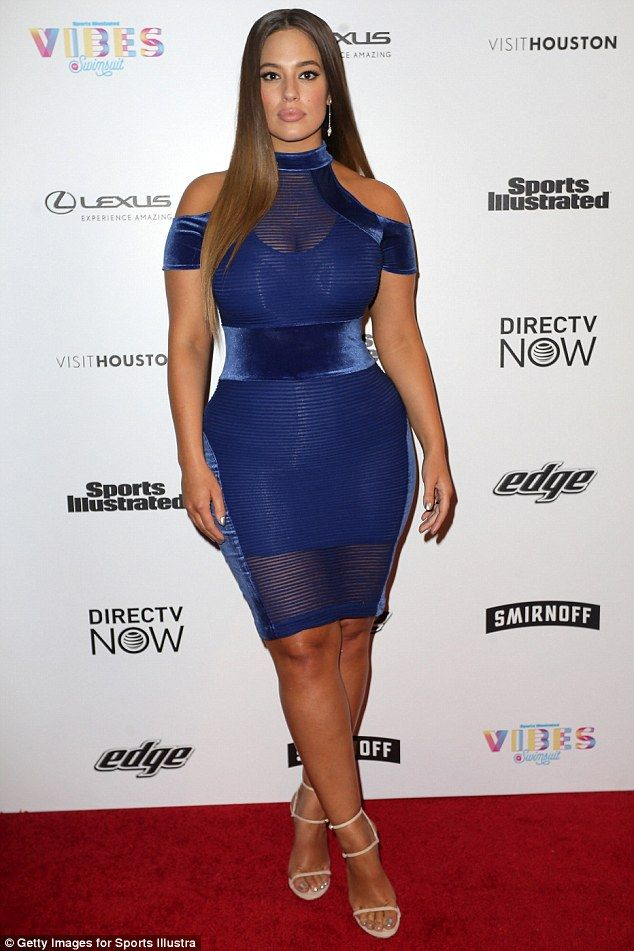 What a stunner: On Friday, Ashley Graham slipped on a skintight blue mini  dress for the two-day Vibes by Sports Illustrated Swimsuit festival in  Houston, ...