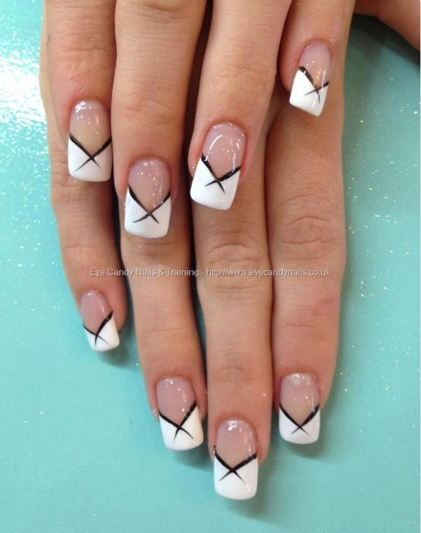 Simple Crosshatch On A Balanced French White Tip Nails French Tip Nail Designs French Tip Nails