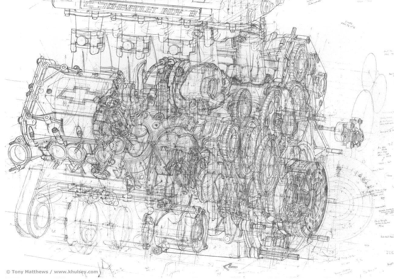 Ilmor Chevrolet 265b Indy Engine Pencil Sketch By T