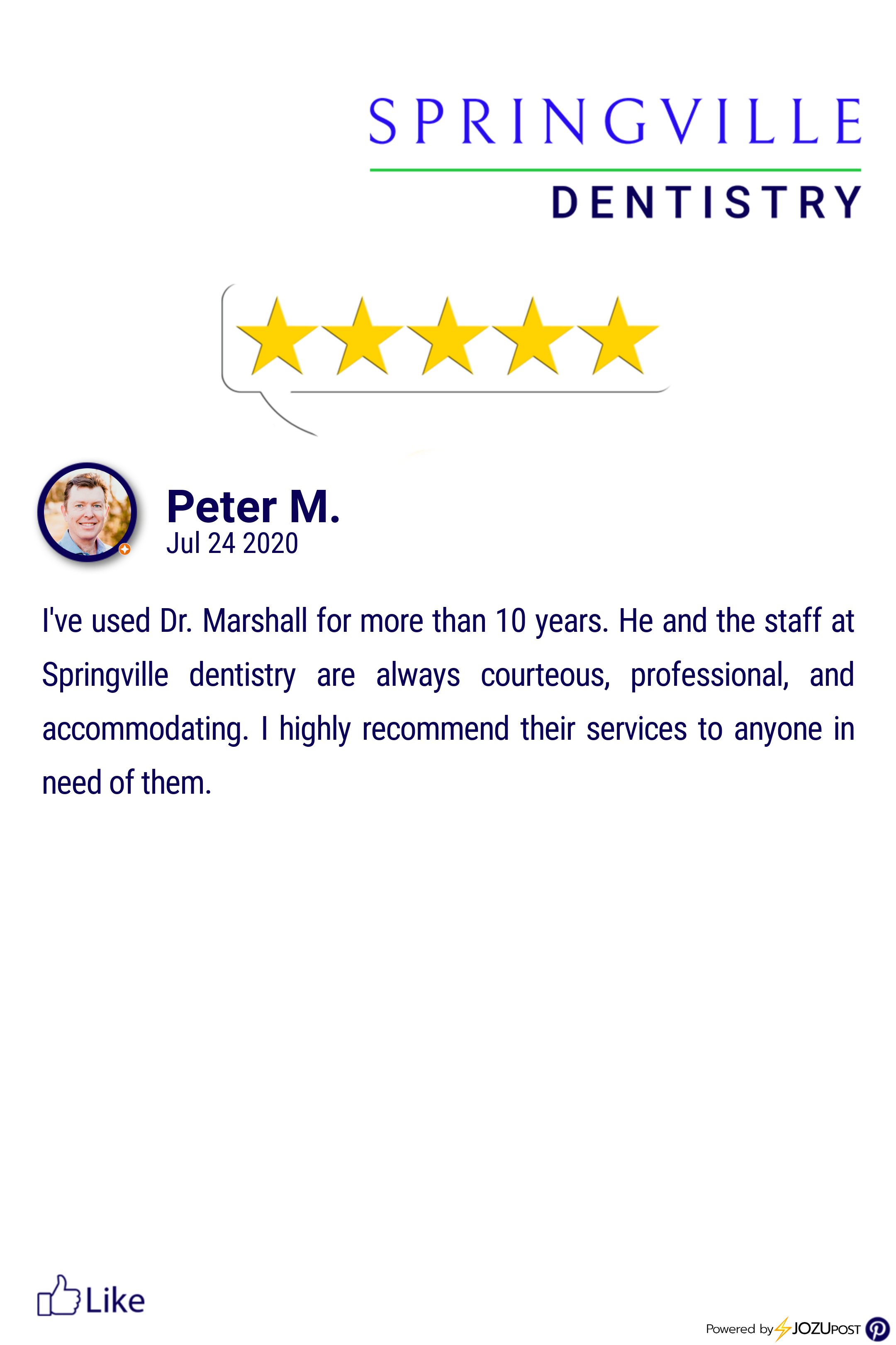 We Appreciate Our Patients Here Is Our Latest Five Star Review From Peter M We Love To Recognize Those Springville Dentistry Looking Forward To Seeing You