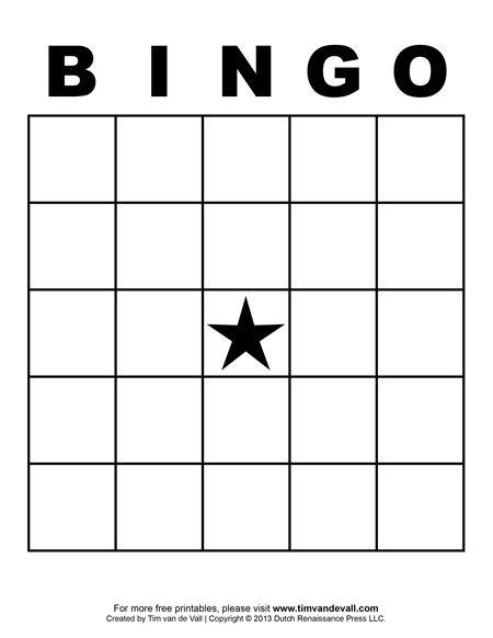 Printable Blank Bingo Cards For Teachers  Office Entertainment