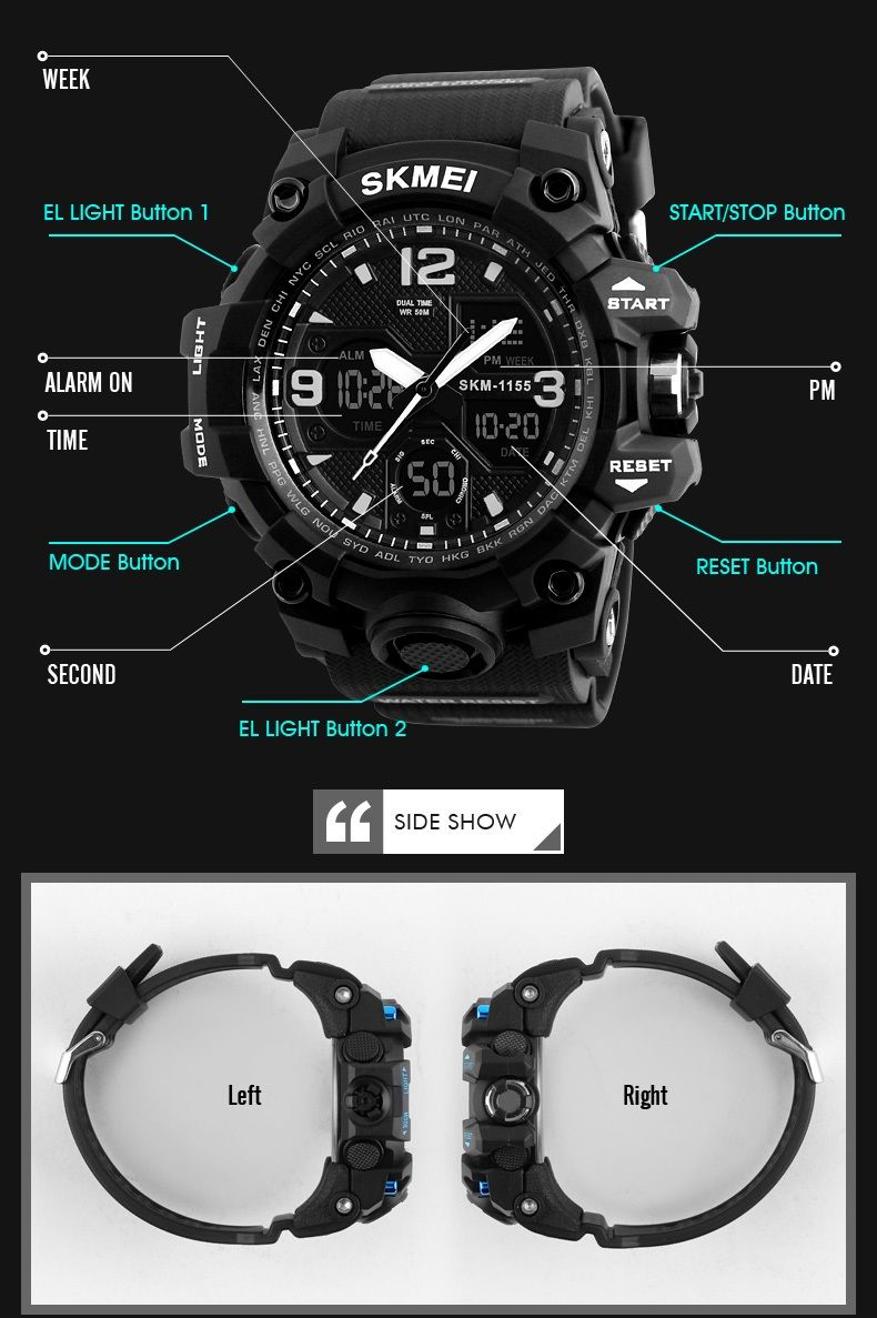 11c49a9c0e3 SKMEI 1155 50M Waterproof Men Sport Watch Camouflage Compass LED Digital  Watch