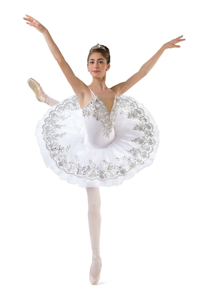 2ea0bfd62f White spandex leotard with beige spandex inset and adjustable straps.  Attached embroidered appliqué top skirt over white white net platter tutu.