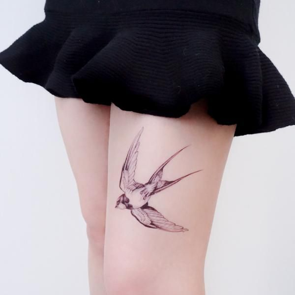 0c9532c41088a New School Fineline Watercolor Delicate Swallow Tattoo Sticker Bird  Temporary Tattoo HK Hong Kong Vintage Classic