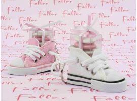 Dragées Baptême Basket rose et blanche avec boite dragees