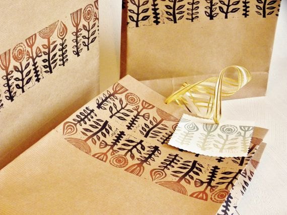 original lino printed paper bags set of 3 by RubiaCraft on Etsy