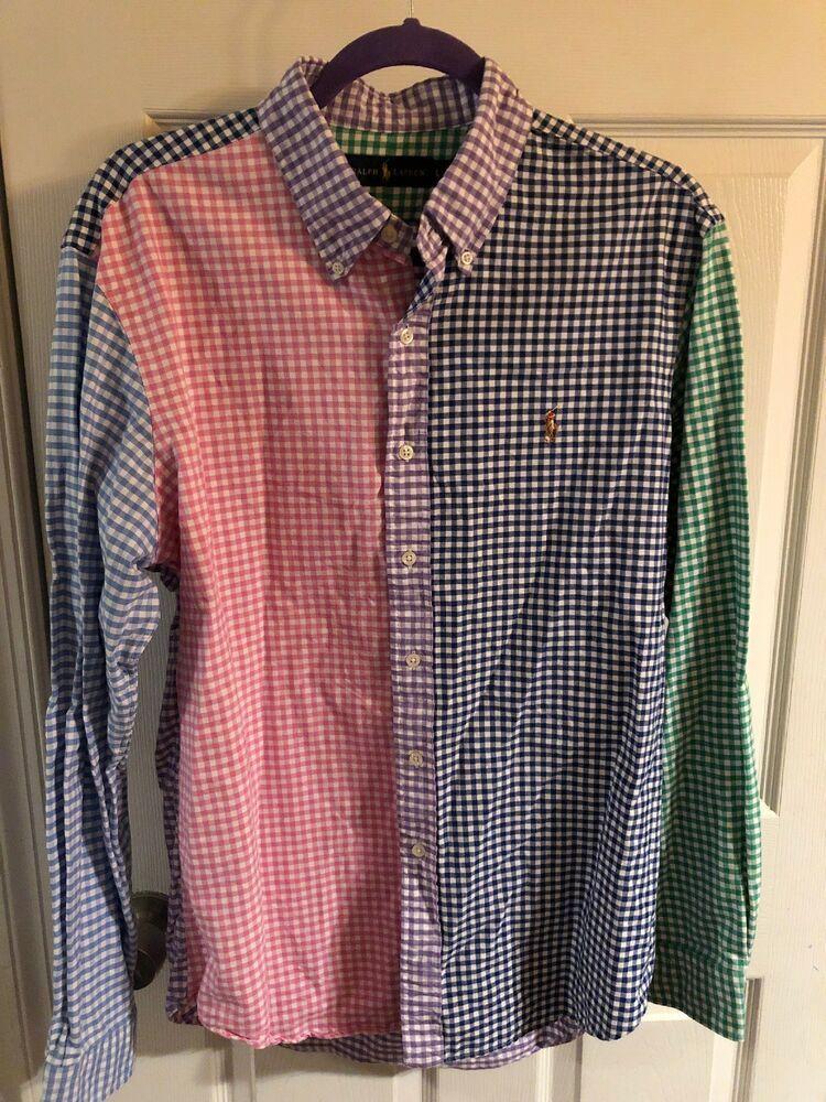 f11a23e4 POLO Ralph Lauren FUN Dress shirt 4 Panel multi color plaid L men's Gingham  | eBay